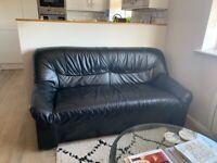 Black leather sofa - 2 seater