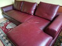 Natuzzi leather sofa & chaise longue for sale