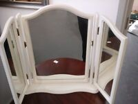 White framed triple dressing table mirror
