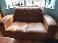Brown leather sofa & armchair