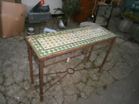 WROUGHT IRON & MOSAIC TILED TOP KITCHEN TABLE IN YEOVIL