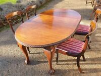 Solid Mahogany Dining Set - Extendable Table - 4 Chairs - GORGEOUS - B