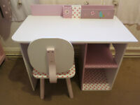 Vertbaudet Girls Pink/White Desk and Chair £44