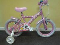 """LOVELY, SELDOM USED, GIRLS DAISYCHAIN 14"""" WHEEL BICYCLE WITH STABILIZERS**FREE DELIVERY HULL**"""