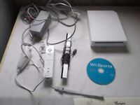 WII CONSOLE BUNDLE,ALL LEADS,SENSOR BAR,WII REMOTE,NUNCHUCK AND WII SPORTS