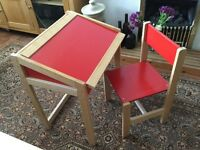 Child Red desk and chair.