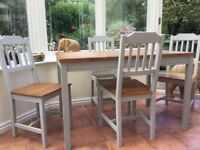 Dining Table & 4 Chairs 120 x 75 cm Pine tops, grey painted frames