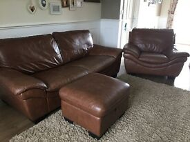Three Piece Leather Couch, Chair and Pouffe excellent condition, from smoke free pet fee home