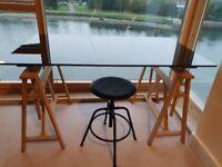 Black glass topped trestle habitat desk in good condition