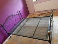 """Ornate Black and Gold metal """"slot in"""" double bed frame"""