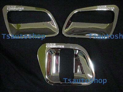 Chrome 3 Door Handle Bowl Cover Trim For Van Toyota Hiace Commuter 2005 2013