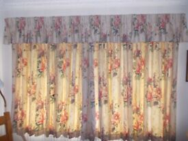 """Pair of lined curtains each 104 """" wide x 52"""" long very good condition"""
