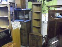 Super Oak Genuine Old Charm Corner Shelves Cabinet