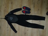 Children Size 6 Longsleeved Wetsuit and shoes