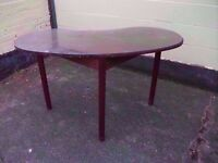 Table Kidney Shaped Glass Top Dark Wood Good Condition Delivery Available