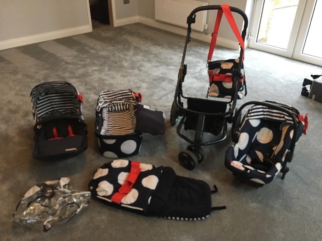Cosatto giggle 3 in 1 pram push chair and full accessories