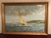 Large Vintage Sailing yacht boat picture painting in gilt frame