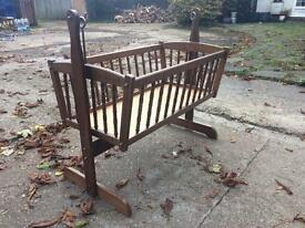 VINTAGE Brown Wooden Swinging Baby Crib without mattress (CAN DELIVER)
