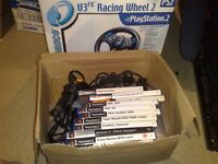 ps2 playstation 2 bundle games / console/wheels etc etc
