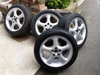 """4X 16"""" FIVE STUD TOYOTA ALLOYS WHEELS WITH GOOD TYRES"""
