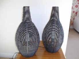 TWO BASKET STYLE WOOD LAMPS EXCELLENT CONDITION