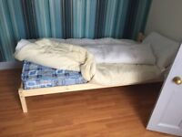 Single Bed Wooden Frame Pine Colour with Tanya Matress