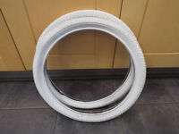 BMX TYRES, x2 WHITE, NEW 20x2.0 MEGHNA BARGAIN £8.00 BRAND NEW PAIR OF TYRES AS PICTURED.