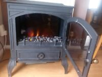 Cast iron effect stove with flame effect