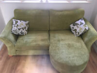 AS NEW: 3 Seater Formal Back Lounger Sofa with chaise style footstool