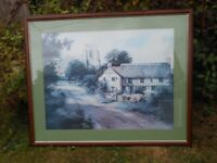 Very Large Countryside Print (Picture) in Wooden Frame - Offers Welcome
