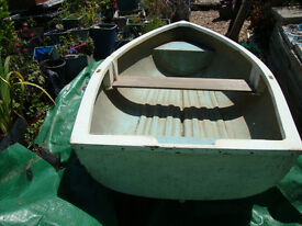 STURDY ROWING BOAT WITH OARS AND BRAND NEW SET OF BOAT WHEELS