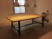 Industrial Reclaimed Timber Scaffold Board Table. On Vintage, Box Steel Legs