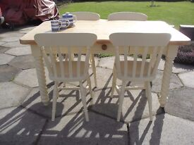 Shabby Chic Solid Pine Farmhouse Country Table and 4 Chairs In Farrow & Ball Cream No 67