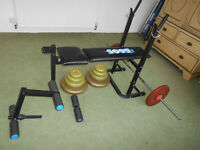 Weights bench with Leg extension and Bar plus 135lbs