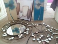 Wall art with matching mirror and 3 pictures