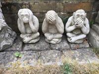 Three wise monkeys concrete stone garden ornaments