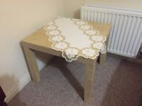 Wood square side coffee table