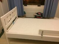 Ikea toddler bed with mattress and bed rail