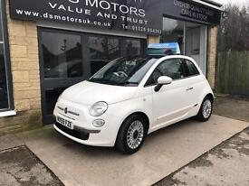 FIAT 500 LOUNGE/LOW MILES/FSH/PAN ROOF/STUNNING WHITE