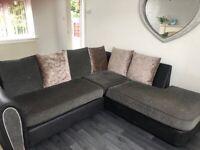 Half crushed velvet n grey sofa