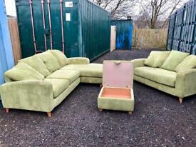 Green fabric suite with footstool (Delivery Included)