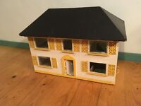 Large Vintage Antique Dolls House - Handmade wooden with retro removable roof