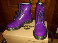 Dr Martens Ladies Patent Leather Boots Size 4 Purple. NEW