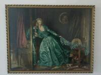 """Beautiful framed tapestry """"The stolen kiss """""""