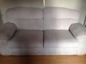 Cream Jumbo cord 3 seater sofa and chair