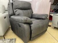 Bergamo Grey fabric Recliner Armchair
