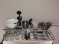 Dinnerware, cutlery and glasses set
