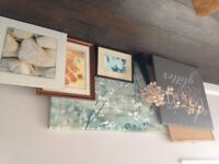 Job lot wall canvases, pictures, vase with flowers and pinboard