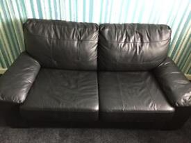 2 Seater Leather/Leather Eff Black Sofa Bed
