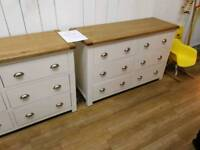 Solid oak 2 tone 6 drawer chest of drawers with silver handles